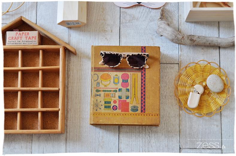 compilation objet bois beige maison étagere valisette osier panier thailandais  livre tricot vintage