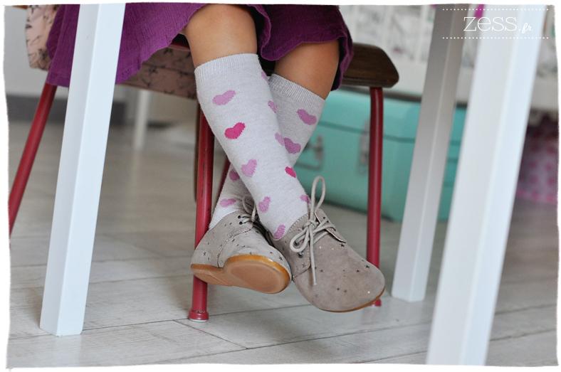 look rentree maternelle chaussette hautes coeurs derbies etoiles