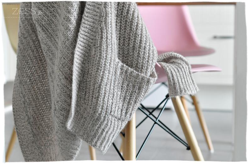 gilet laine cotes gris chiné