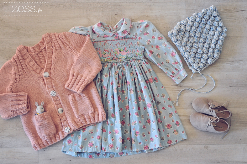 look kid maille gilet robe vintage beguin point noisette crochet derbies