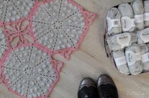 diy couverture crochet vintage hexagone pompon popcorn