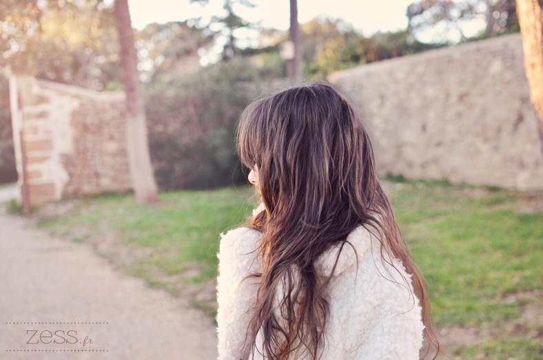 manteau fausse fourrure cheveux dégradé frange