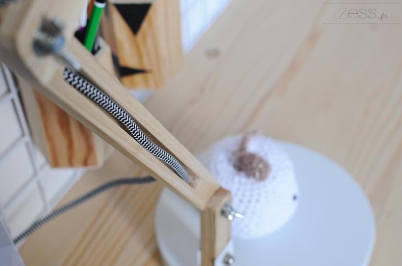 lampe articulé bois cordon rayé