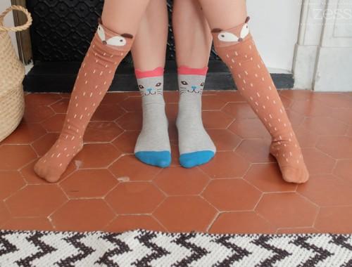 chaussettes hautes renard chat