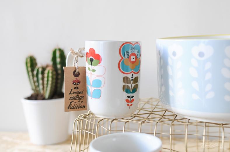 vaisselle mug saladier vintage retro fleurs 70's