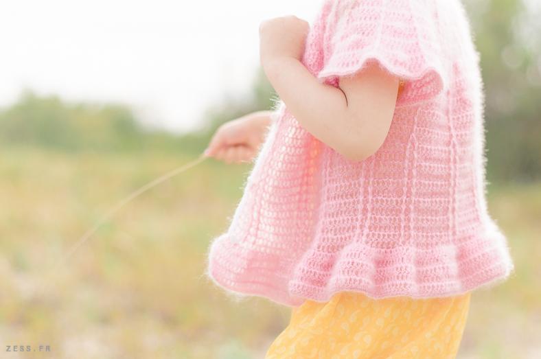 gilet romantique mohair crochet enfant pattern