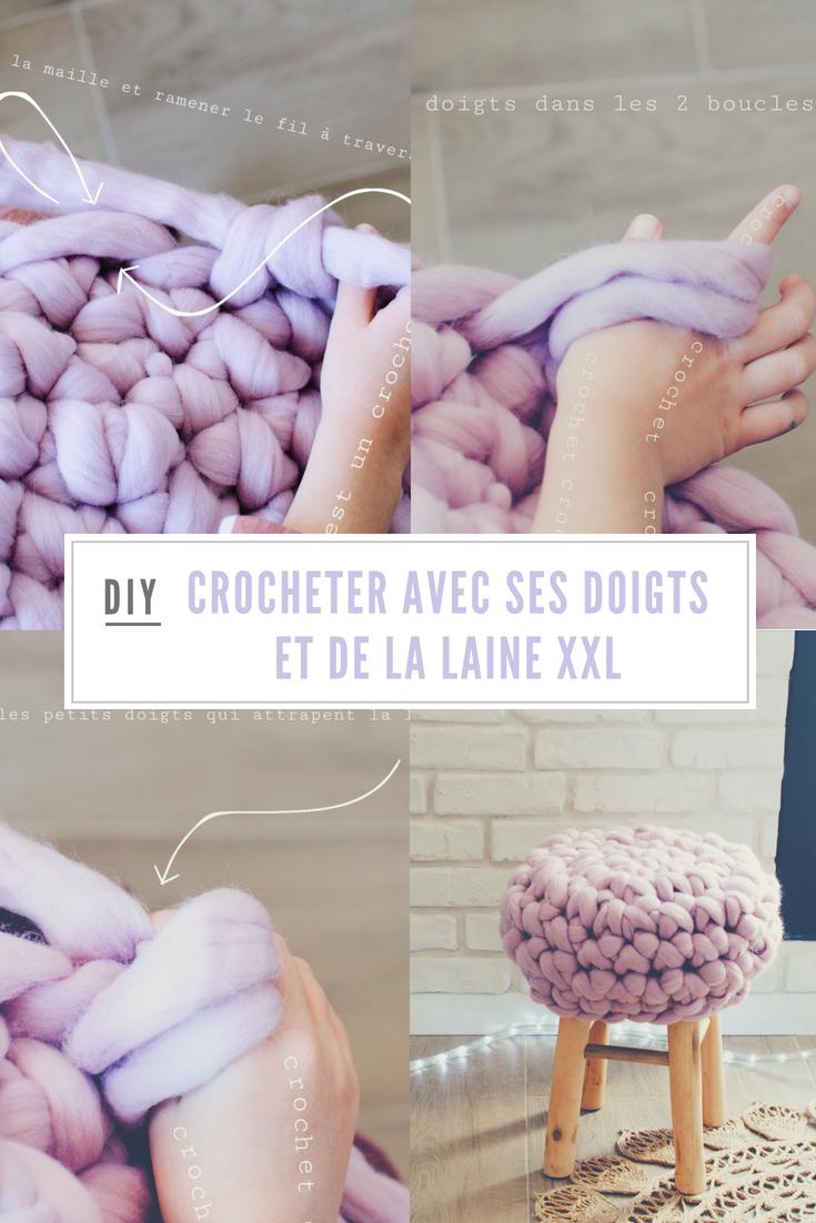crocheter avec ses doigts et laine XXL
