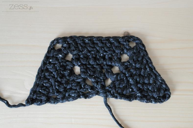 moitié hexagone half crochet