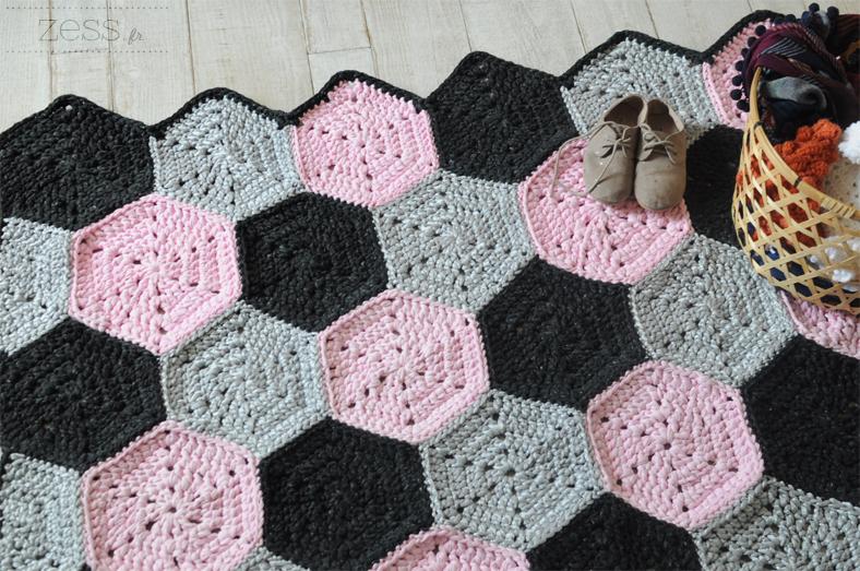 rug crochet hexagone granny