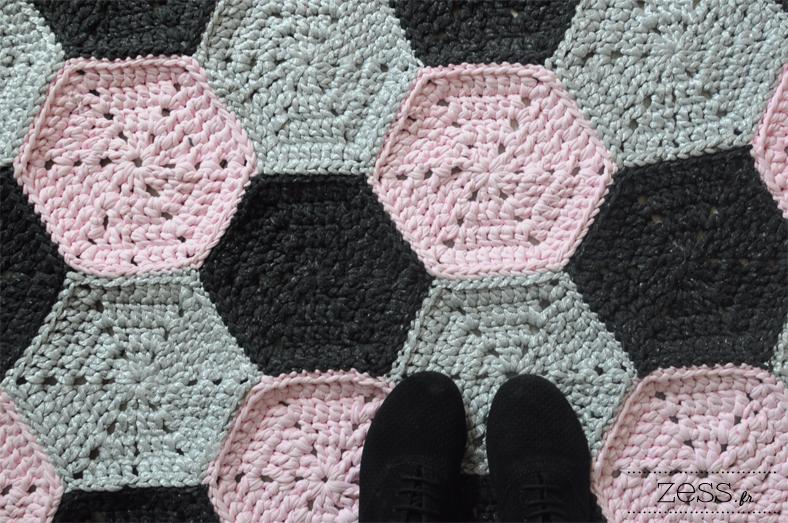 diy tapis traphillo jersey tissu crochet