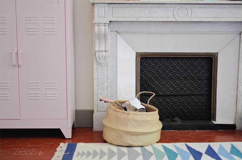 chambre enfant cheminée vintage panier rond