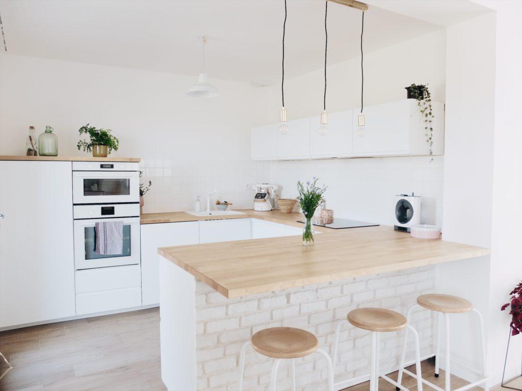Plan De Travail Ikea Bois Massif construction maison : notre cuisine blanche et épurée (avis