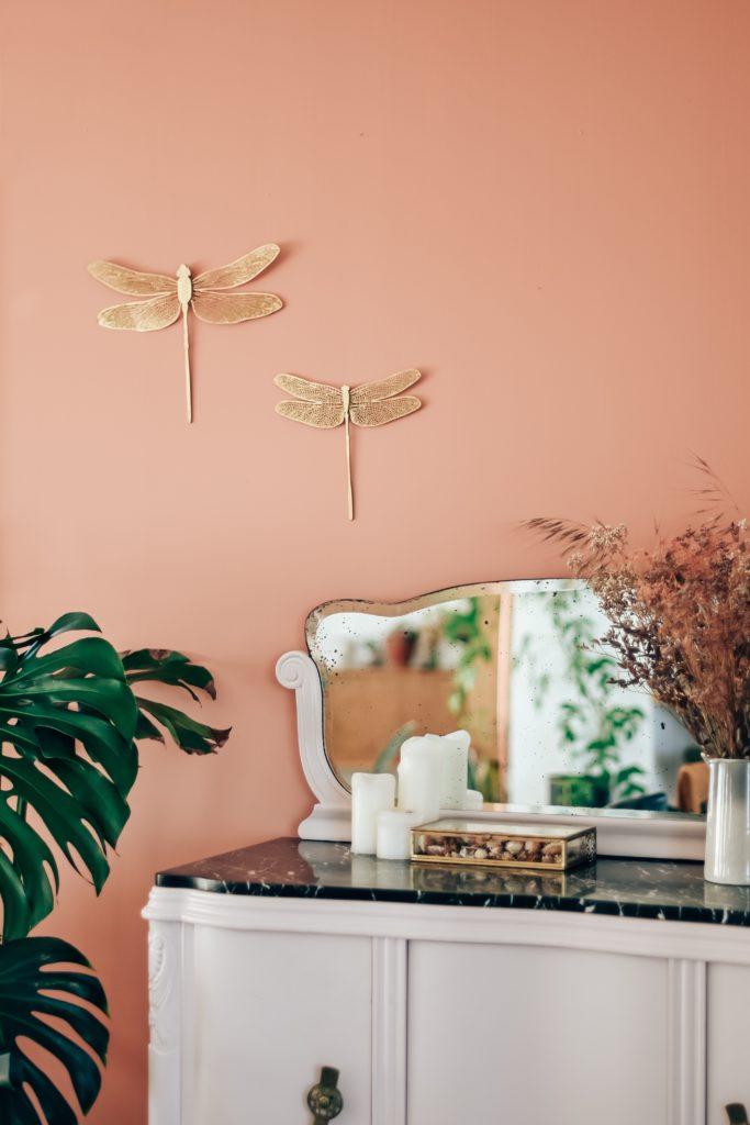 peinture rose cuivre piece de vie