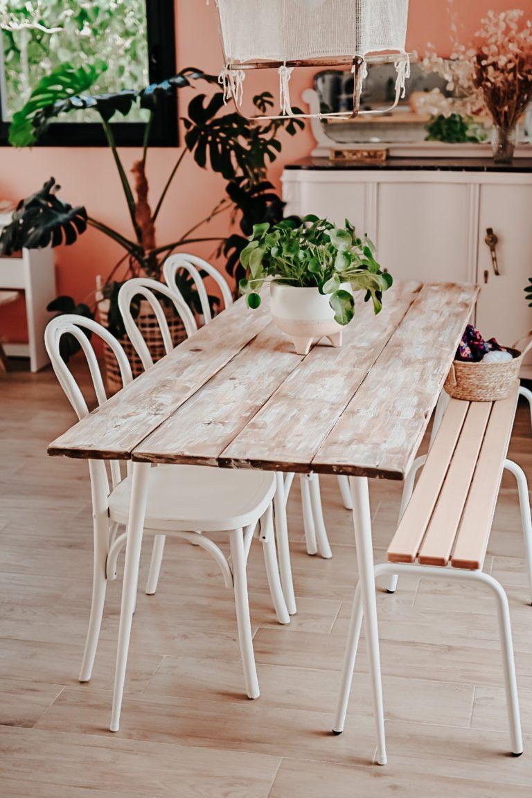 diy table à manger en bois déco bohème